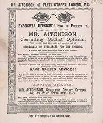 Advert For Mr Aitchison, optician